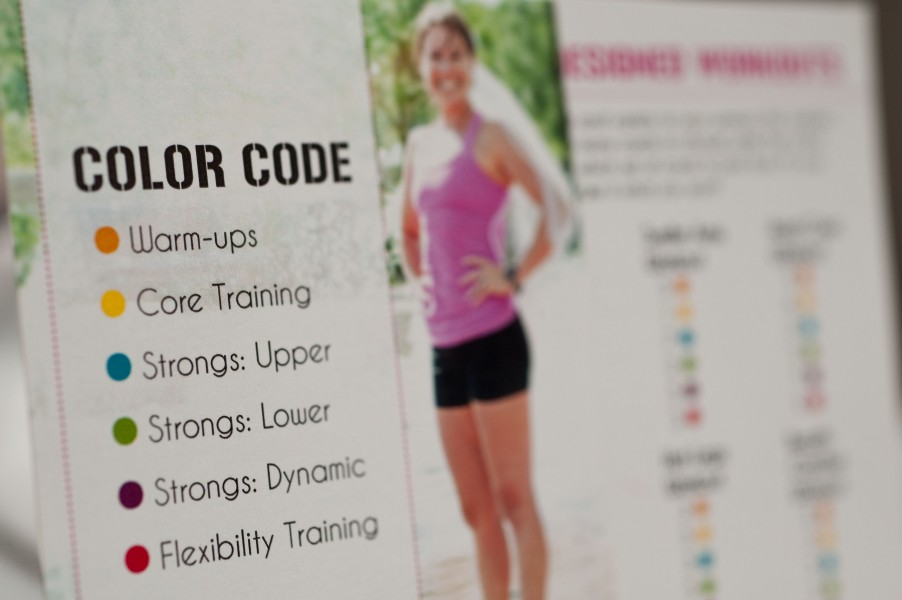 Each section is color-coded, making every workout customizable.