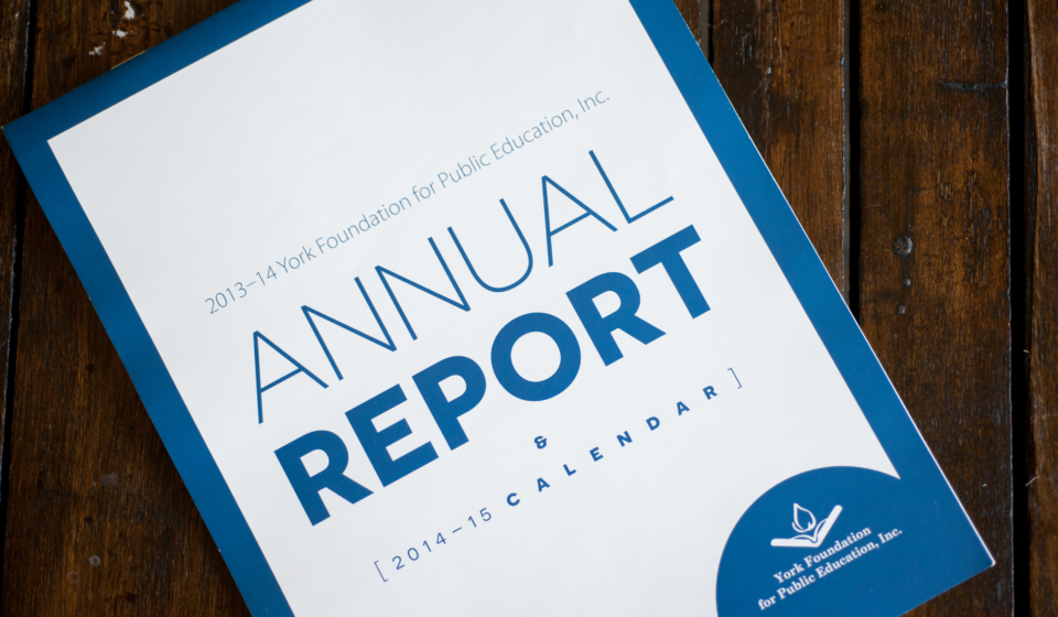 This 2-color 2014-15 calendar was also the 2013-14 annual report for the York Foundation for Public Education. The content was pared down, from a 20+ page, text-heavy book to a monthly reminder of all the Foundation did the previous year for the community.