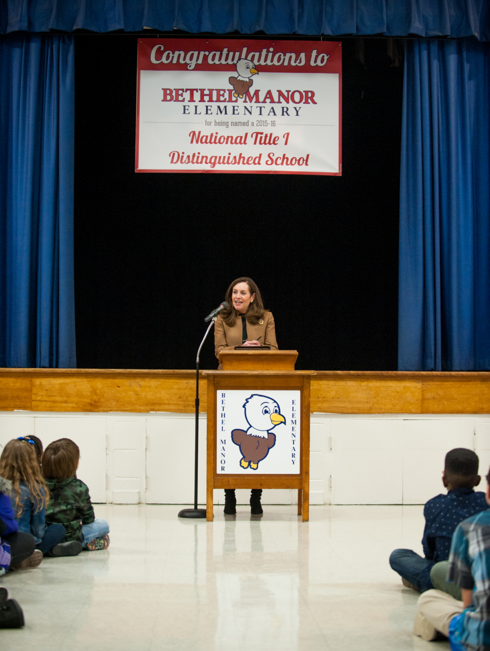 The First Lady of Virginia, Dorothy McAuliffe, spoke to the students and faculty at Bethel Manor to congratulate them on their National Title I award in fall 2015. The new logo was implemented just before receiving this national recognition.